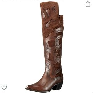 Frye embroidered western leather tall boots 7.5